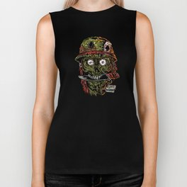 military zombie with knife in mouth. Biker Tank