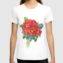 Red Flowers, Primula, red floral design T-shirt