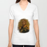 replaceface V-neck T-shirts featuring Michael Clarke Duncan - replaceface by replaceface