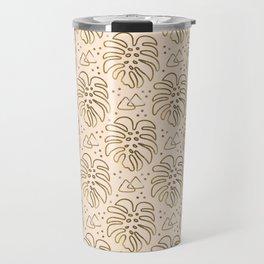 Gold Monstera on Cream Travel Mug