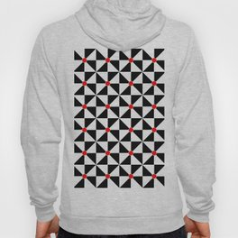 Optical pattern 121 black, white and red Hoody
