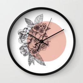 Peonies & sunflowers Wall Clock