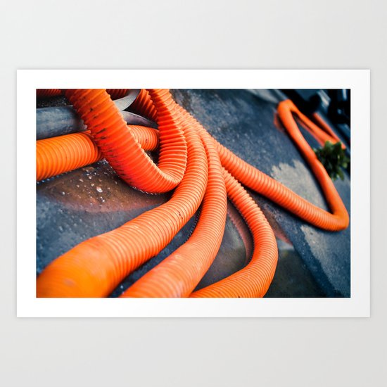 Orange Pipes Art Print