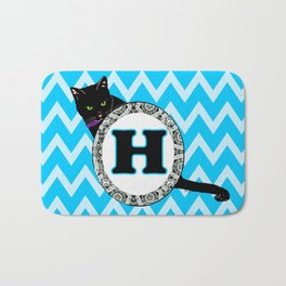 Letter H Cat Monogram Bath Mat