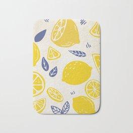 Fun and Kitschy Lemon Pattern on White Bath Mat