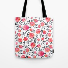 Roses on White - a watercolor floral pattern Tote Bag
