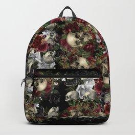 Skulls and Roses Bandana on Black Backpack