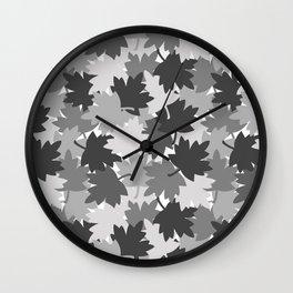 Camo Gray Leaves Wall Clock