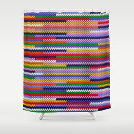 Knitted random lines Shower Curtain