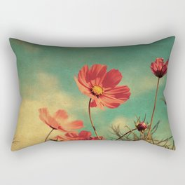 Windy Day Wildflowers - Kitschy Nature Print Aged, Grungy Rectangular Pillow