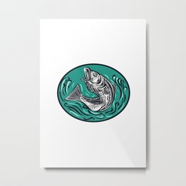 Rockfish Jumping Color Oval Drawing Metal Print