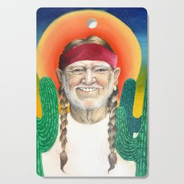 Willie Nelson Sunset Cactus Painting Cutting Board