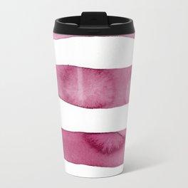 Pink Stripe Abstract Art Travel Mug