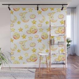 Yellow pink  watercolor dreamy stars moon sun pattern Wall Mural