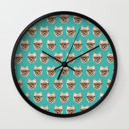 Pomeranian dog breed hipster glasses intellectual dog lover with personality Wall Clock