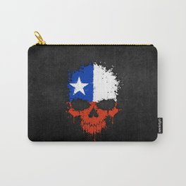 Flag of Chile on a Chaotic Splatter Skull Carry-All Pouch