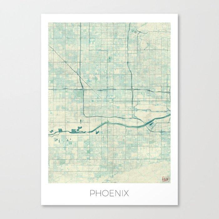 Phoenix Map Blue Vintage Canvas Print