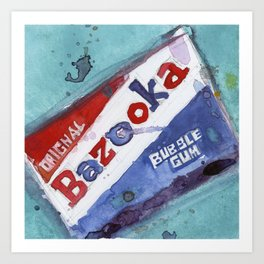 Bazooka Bubble Gum Original Watercolor Art Print