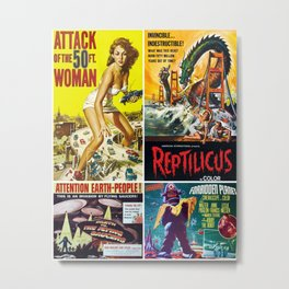 50s Sci-Fi Movie Poster Collage #9 Metal Print