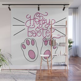 Hoppy Easter Bunny Feet and Whiskers Wall Mural