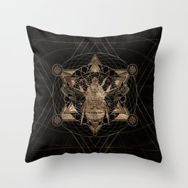 Bumble Bee in Sacred Geometry - Black and Gold Throw Pillow