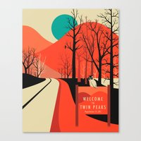 twin peaks Canvas Prints featuring Twin Peaks by Jazzberry Blue