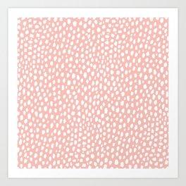 Pink Polka Dot Spots (white/pink) Art Print