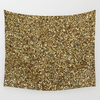 gold glitter Wall Tapestries featuring Gold Glitter by Katieb1013