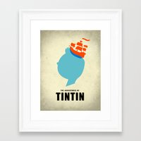 tintin Framed Art Prints featuring THE ADVENTURES OF TINTIN by Calvin Wu
