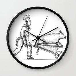 Chef With Wheelbarrow and Pig Tattoo Wall Clock