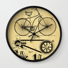 Bicyole Support Patent Drawing From 1890 Wall Clock