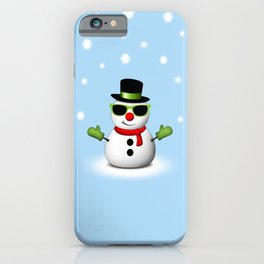 Cool Snowman with Shades and Adorable Smirk iPhone Case
