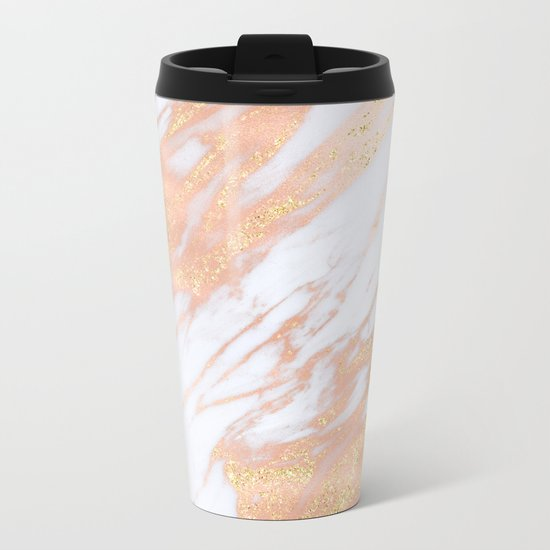 Marble - Rose Gold with Yellow Gold Glitter Shimmery Marble Metal Travel Mug
