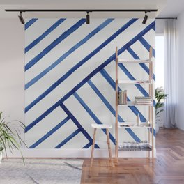 Watercolor lines pattern | Navy blue Wall Mural