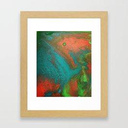 Rusty Jade: Acrylic Pour Painting Framed Art Print