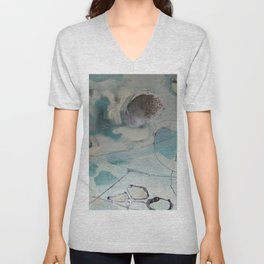 still waters - mixed media ocean collage in modern fresh colors mint, teal, cream, white, and gold Unisex V-Neck