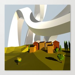 They Swooped Over The Houses Canvas Print