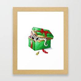 Kitten present box Framed Art Print