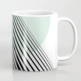 Rising Sun Minimal Japanese Abstract White Black Mint Green Coffee Mug