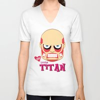 attack on titan V-neck T-shirts featuring My Little Titan by TheBeardedPen