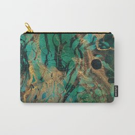 Green and Gold marbled paper Carry-All Pouch