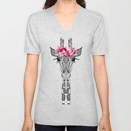 FLOWER GIRL GIRAFFE Unisex V-Neck