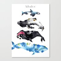 whales Canvas Prints featuring Whales by Amee Cherie Piek