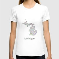 michigan T-shirts featuring Michigan map by David Zydd - Colorful Mandalas & Abstrac
