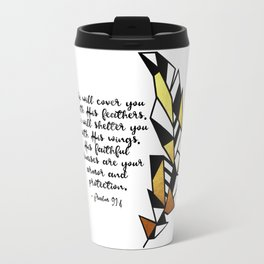 Gold Feather & Psalm 91:4 Travel Mug