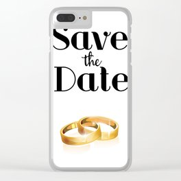 Save the Date Gold rings Clear iPhone Case