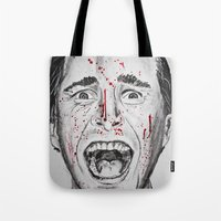 american psycho Tote Bags featuring American Psycho by Haley Erin