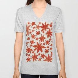red maple leaves pattern Unisex V-Neck