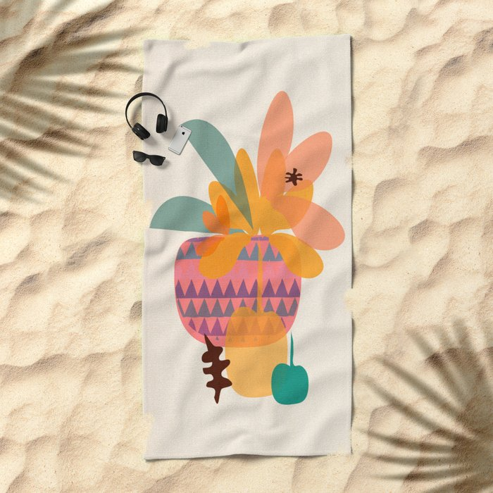 Tropical Fruit Basket Beach Towel