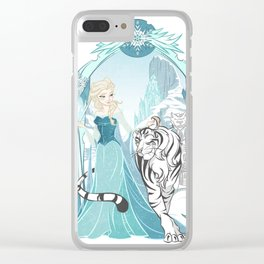 Frozen White Tiger Clear iPhone Case